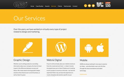 Screenshot of Services Page gsd.net - Digital & Graphic Design, Website & Mobile App Services | GSD® - captured Oct. 4, 2014