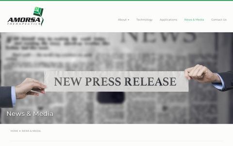 Screenshot of Press Page amorsatx.com - News & Media | Amorsa Therapeutics - captured Nov. 12, 2018