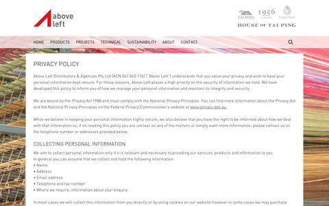 Screenshot of Privacy Page aboveleft.com.au - Privacy Policy - captured May 29, 2017