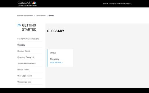 Screenshot of Support Page comcasttechnologysolutions.com - Getting Started | Ad Management Support Portal - captured Oct. 28, 2019