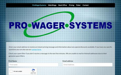Screenshot of Pricing Page prowagersystems.com - ProWagerSystems - Enterprise Poker & Bingo Software - captured Nov. 5, 2018