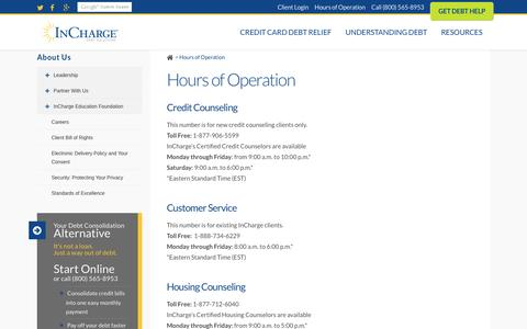 Screenshot of Hours Page incharge.org - Hours of Operation | InCharge Debt Solutions - captured Nov. 26, 2016