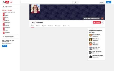 Screenshot of YouTube Page youtube.com - Lara Galloway  - YouTube - captured Oct. 25, 2014