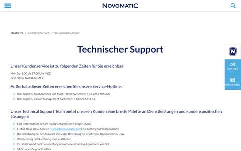 Screenshot of Support Page novomatic.com - Technischer Support - NOVOMATIC - captured May 30, 2018