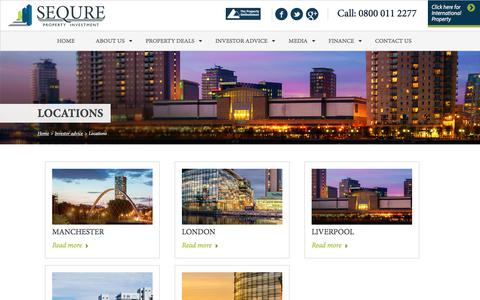 Screenshot of Locations Page sequre.co.uk - Sequre Property Investment - captured Sept. 30, 2017