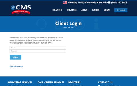 Screenshot of Login Page continentalmessage.com - Client Portal Log-in | Continental Message Solution - captured Sept. 29, 2018