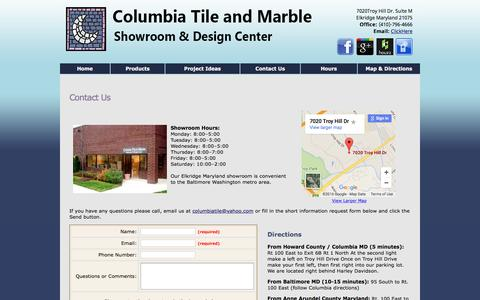 Screenshot of Contact Page Hours Page columbiatileandmarble.com - Contact Form Maryland Tile & Marble Showroom - captured June 22, 2016
