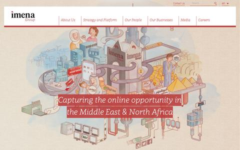 Screenshot of Home Page imena.com - iMENA Group   Capturing the online opportunity in the Middle East & North Africa - captured Jan. 21, 2016