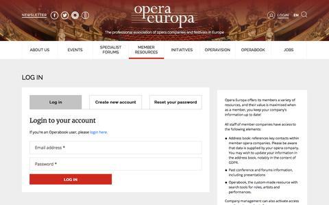 Screenshot of Login Page opera-europa.org - Log in | Opera Europa - captured Dec. 5, 2019