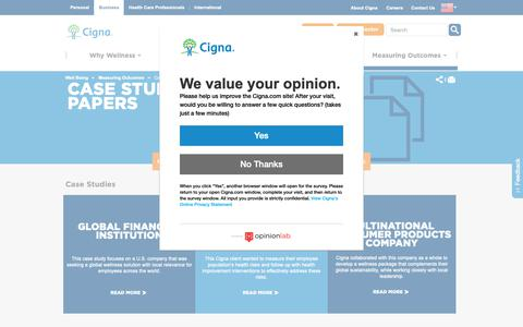Screenshot of Case Studies Page cigna.com - Case Study and White Papers  Cigna Global Wellbeing Solutions - captured Oct. 20, 2018