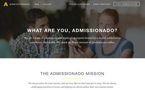Screenshot of About Page admissionado.com - About Admissionado - captured Sept. 29, 2018