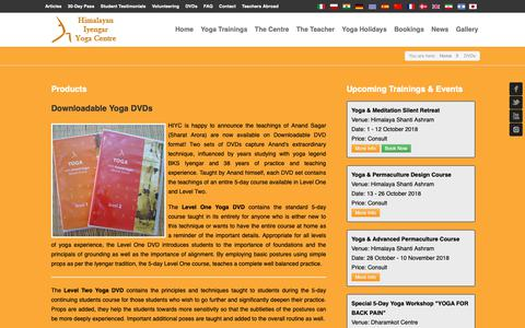Screenshot of Products Page hiyogacentre.com - Yoga Training Products: DVDs, T-Shirts, Belts - captured Sept. 28, 2018