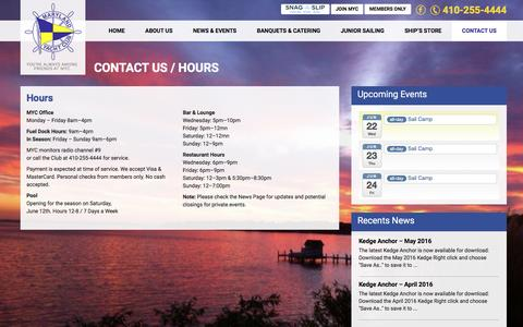 Screenshot of Hours Page mdyc.org - Hours | Maryland Yacht Club - captured June 22, 2016