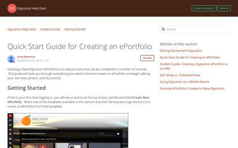 Screenshot of Support Page digication.com - Quick Start Guide for Creating an ePortfolio – Digication Help Desk - captured Jan. 8, 2020