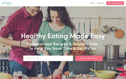 Screenshot of Home Page platejoy.com - Custom Meal Plans—Eat Healthy & Save Time | PlateJoy - captured March 10, 2019