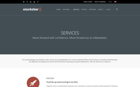 Screenshot of Services Page emarketeer.com - Services - www.emarketeer.com - captured Dec. 14, 2015
