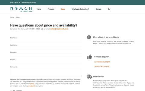 Screenshot of Contact Page reachtech.com - Sales | Reach Technology - captured Jan. 16, 2020