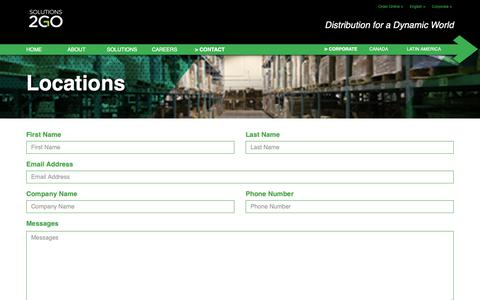 Screenshot of Contact Page Locations Page solutions2go.ca - Solutions 2 GO - captured Oct. 20, 2018