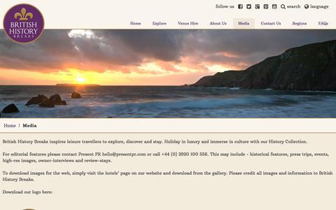 Screenshot of Press Page britishhistorybreaks.com - Media information - captured July 30, 2016