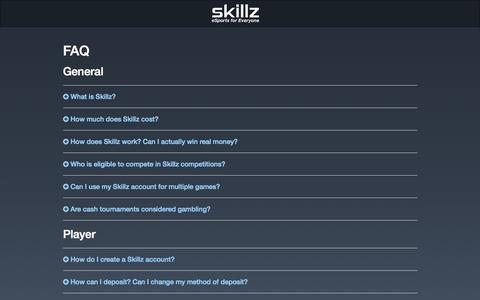 Screenshot of FAQ Page skillz.com - Skillz: FAQ - captured Oct. 2, 2015