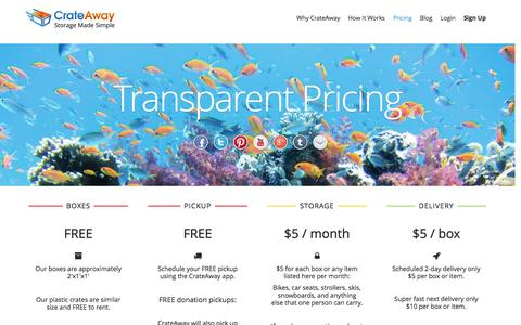 Screenshot of Pricing Page crateaway.com - Pricing - captured Sept. 30, 2014