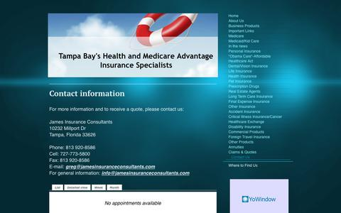 Screenshot of Contact Page jamesinsuranceconsultants.com - How to contact James Insurance Consultants - captured June 8, 2017