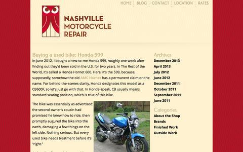 Screenshot of Blog nashvillemotorcyclerepair.com - Nashville Motorcycle Repair  » Blog - captured Sept. 30, 2014