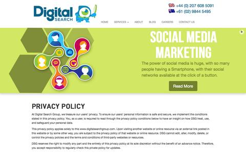Screenshot of Privacy Page digitalsearchgroup.co.uk - Privacy Policy | Digital Search Group - captured Sept. 19, 2014