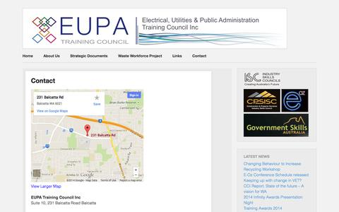 Screenshot of Contact Page eupa.com.au - Contact - EUPA Training Council Inc.EUPA Training Council Inc. - captured Oct. 2, 2014