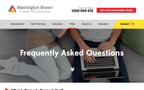 Screenshot of FAQ Page washingtonbrown.com.au - Property Depreciation Schedules - Investment Property Depreciation - Washington Brown - captured Aug. 11, 2016