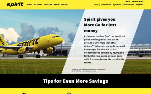 Screenshot of spirit.com - Save on flights and luggage, earn flight miles or check-in with our app - captured Oct. 18, 2018