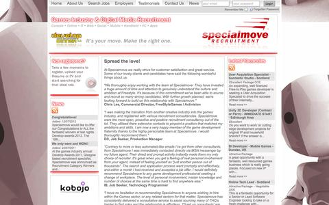 Screenshot of Testimonials Page specialmove.com - Specialmove - Testimonials - captured Sept. 30, 2014