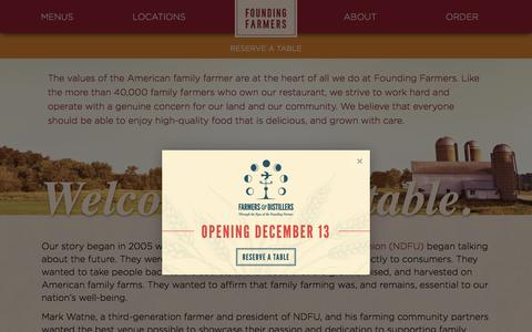 Screenshot of About Page wearefoundingfarmers.com - Welcome to Our Table | About | Founding Farmers - captured Nov. 25, 2016