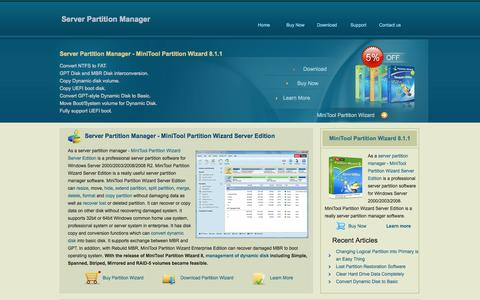 Screenshot of Home Page server-partition-manager.com - Partition Manager Server Edition - Partition Wizard Server is a Professional Server Partition Manager for Windows Server 2000/2003/2008. - captured June 19, 2015