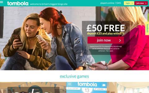 Screenshot of Home Page tombola.co.uk - Play Bingo Online | tombola | Britain's Biggest Bingo Site - captured Oct. 18, 2018
