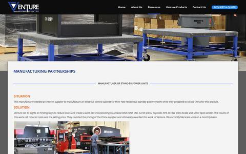 Screenshot of Case Studies Page venturemfggroup.com - Venture Manufacturing Group     Manufacturing Partnerships - captured Dec. 19, 2016