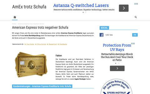 Screenshot of Home Page amex-ohne-schufa.de - American Express Kreditkarte ohne Schufa - Kreditkarte trotz Schufa - captured Jan. 27, 2015