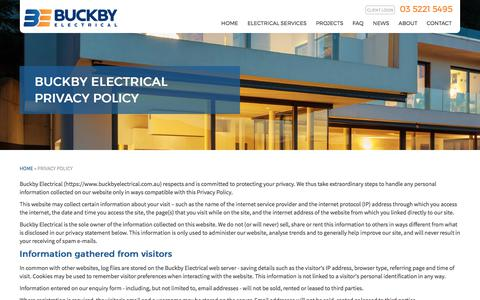 Screenshot of Privacy Page buckbyelectrical.com.au - Buckby Electrical: privacy policy | Electricians Geelong - captured Oct. 9, 2017