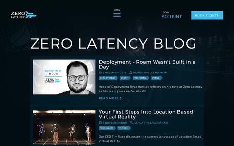 Screenshot of Blog zerolatencyvr.com - Zero Latency - Blog - captured Dec. 5, 2018
