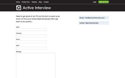 Screenshot of Contact Page activeinterview.com - Contact Us | Active Interview - captured Sept. 26, 2014