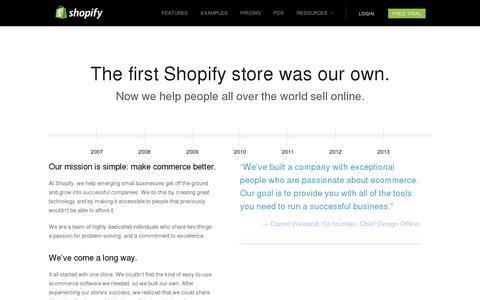Screenshot of About Page shopify.com - Best Ecommerce Company - The About Us Page of Shopify. - captured July 20, 2014