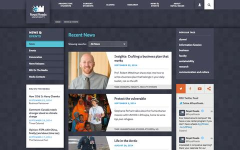 Screenshot of Press Page royalroads.ca - Recent News | Royal Roads University | Victoria, BC - captured Sept. 25, 2014