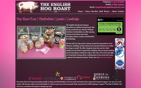 Screenshot of Home Page theenglishhogroastcompany.co.uk - Hog Roast Essex | Hertfordshire | London | Cambridge - captured Sept. 20, 2018