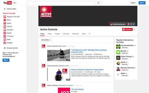 Screenshot of YouTube Page youtube.com - Active Controls  - YouTube - captured Oct. 23, 2014