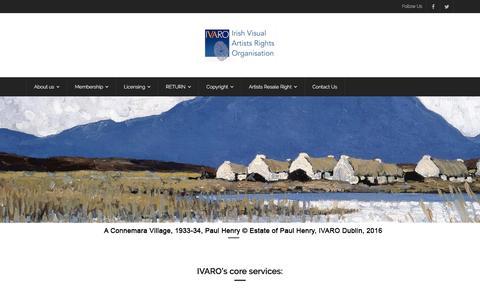 Screenshot of Home Page ivaro.ie - IVARO – The Irish Visual Artists Rights Organisation - captured Nov. 26, 2016