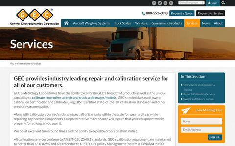 Screenshot of Services Page gecscales.com - Aircraft & Truck Weight & Balance with GEC - captured Jan. 27, 2016