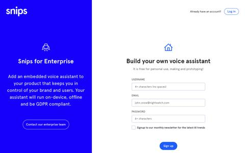 Screenshot of Signup Page snips.ai - Snips Console for Voice Assistants - captured April 19, 2018