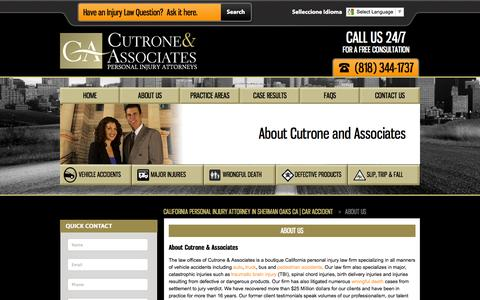 Screenshot of About Page california-personal-injury-lawfirm.com - About Cutrone & Associates | Lou Cutrone | Attorney Law Firm - captured Sept. 23, 2014
