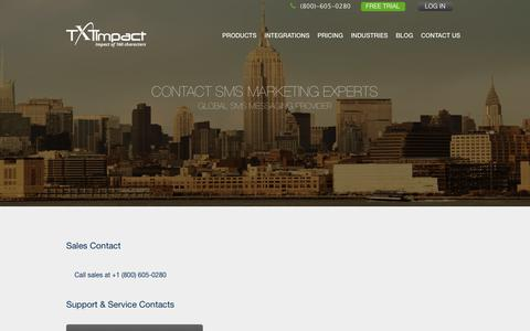 Screenshot of Contact Page txtimpact.com - Contact TXTImpact Sales And Support - captured Feb. 7, 2018