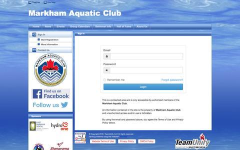 Screenshot of Login Page teamunify.com - Markham Aquatic Club : Sign In - captured Nov. 27, 2016